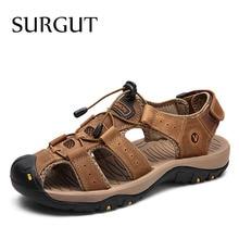 SURGUT 2021 New Male Shoes Genuine Leather Men Sandals Summer Men Shoes Beach Sandals Man Fashion Outdoor Classic Casual Sneaker