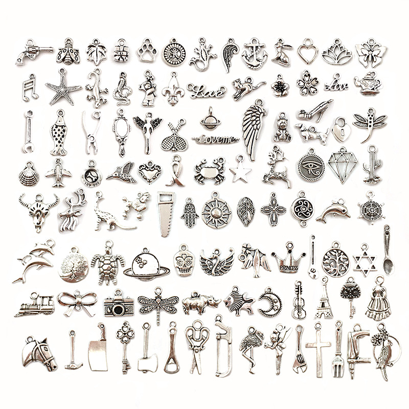 Vintage Silver Mixed 10/20pcs Metal Animal Birds Charms Beads DIY for Pendant Neacklace Bracelet Clips Jewelry Making Findings