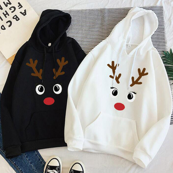 цена на Harajuku Fashion Women Hoodie Reindeer Print Sweatshirt Drawstring With Pockets Poleron Mujer 2020 Plain Oversized Hoodie Cord
