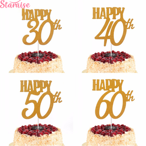 Staraise 1PC Gold Happy 30th Birthday Cake Topper Happy 40 50 60 Paper Birthday Cake Decorating Supplies Birthday Party Supplies