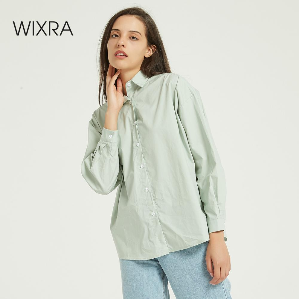 Wixra Women Solid Oversized Blouse Ladies Korean Style Long Sleeve Turn Down Collar Shirts Autumn Spring Basic Tops