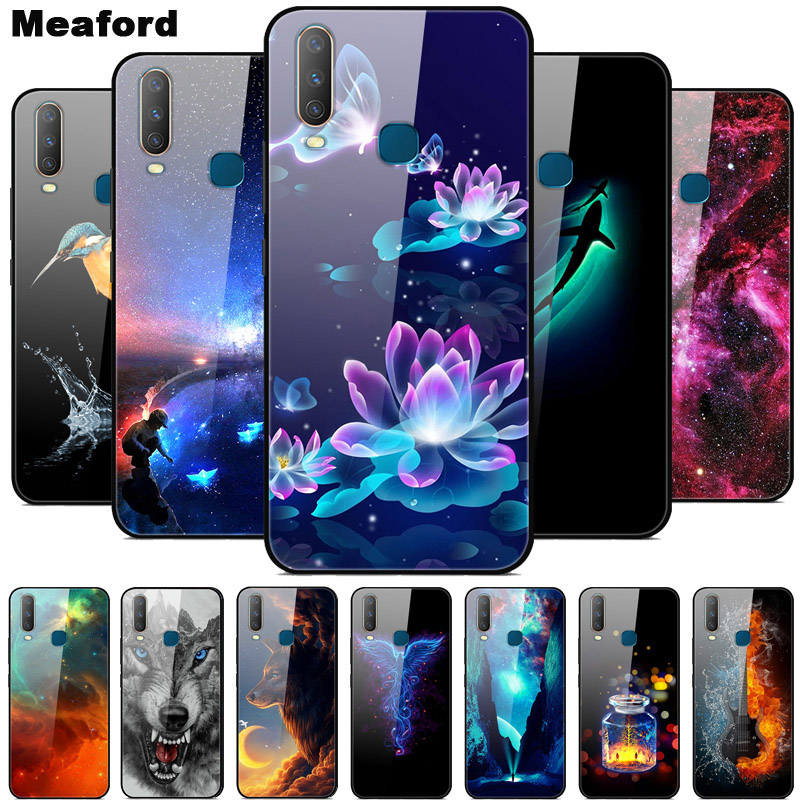 Tempered Glass <font><b>Case</b></font> For <font><b>VIVO</b></font> <font><b>Y17</b></font> 2019 Cover Soft Bumper Printing <font><b>Case</b></font> For <font><b>vivo</b></font> Y 17 <font><b>Y17</b></font> <font><b>Vivo</b></font> Y12 Y15 Y3 1902 Phone Cover Hard image