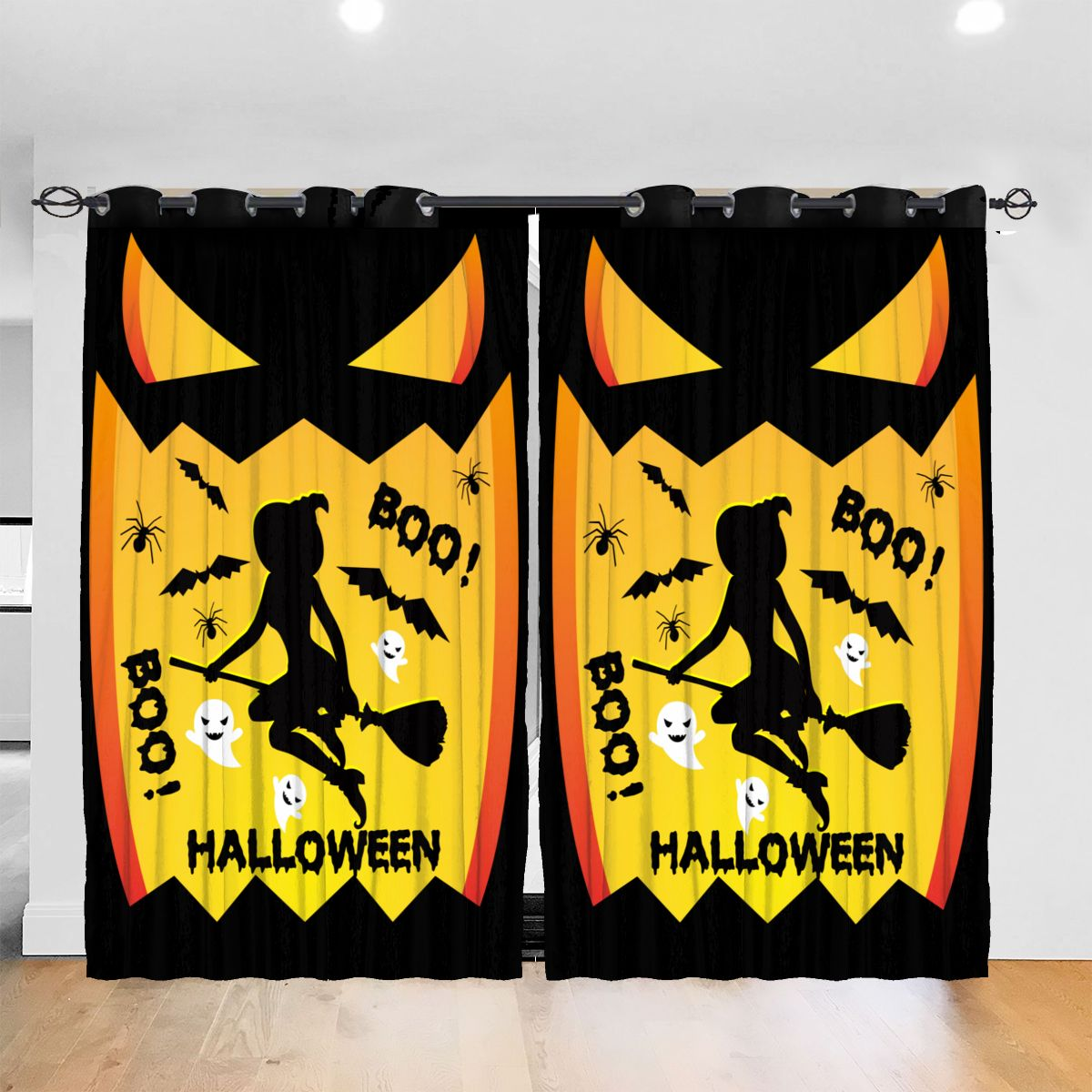 Living Room Sun Block Curtain Witches LOVELY Vintage SALLY Halloween BOO Light Shading Bedroom Blackout Window Curtains 52x72In