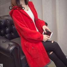 Женское бархатное пальто с капюшоном Свободный Длинный свитер