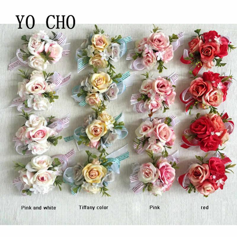 YO CHO Di Seta Sposo Fiore All'occhiello Fiori Boutonniere di Cerimonia Nuziale Corpetto Braccialetto Damigelle di Nozze Corpetti e Fiore All'occhiello Spille