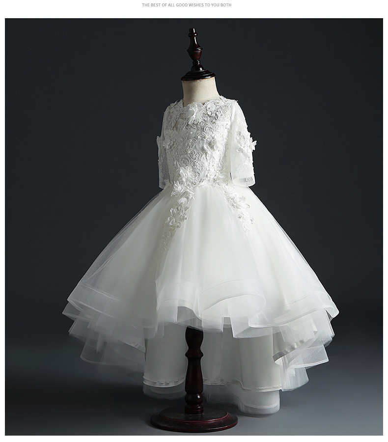 Dresses Of Bride Fellow Kids Women's Children Wedding Dress Girls Princess Dress White Kids Puffy Yarn Long Sleeve Host Costume
