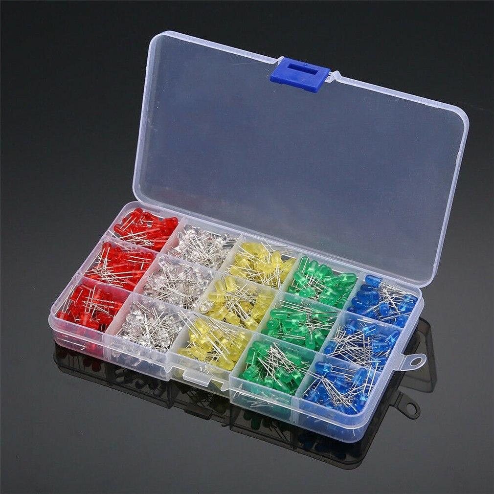 500Pcs/lot 5MM LED Diode Assorted Kit DIY Light Emitting Diode Diode Kit Two-electrode Valve Coordinates Drop Shipping Sale