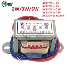 AC 220V zu AC 6V 9V 12V 15V 24V Ausgang Spannung 2W/3W/5W EI Kupfer Core 50Hz ~ 60Hz Einzigen Spannung 2 Linie Kupfer Power Transformator