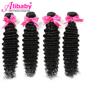 Image 1 - Alibaby Deep Wave Bundles 4 Pcs/Lot Brazilian Hair Weave Bundles Natural Color 100% Human Hair Weave No Remy Hair Extensions