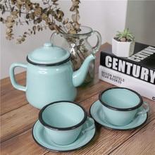 Винтажный эмалированный чайник Набор заварник для кофе, чая чашка для воды кухня