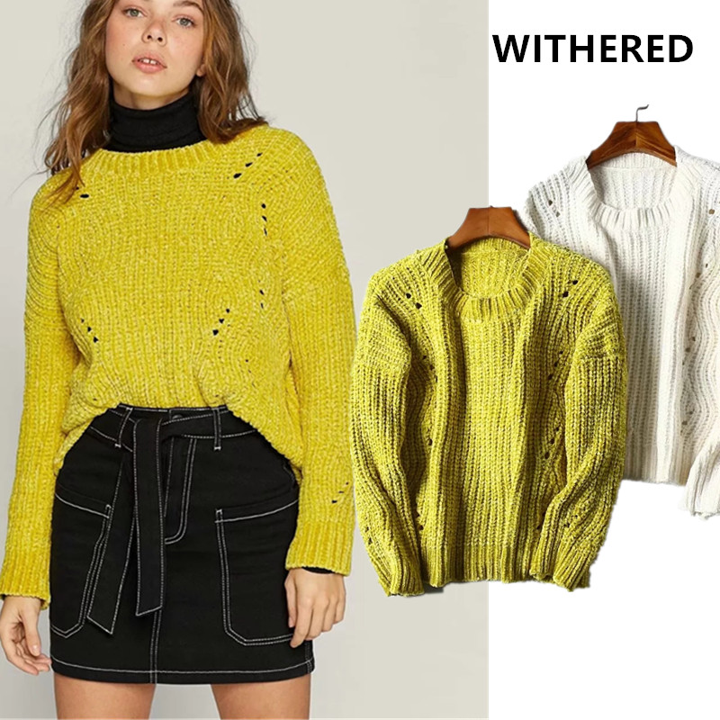 Withered England Style High Street Vintage Hole Chenille Loose Winter Sweaters Women Pull Femme Sweaters Women Pullovers Tops