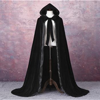 Płaszcz z kapturem aksamitna długość podłogi gotycka aksamitna peleryna gotycka szata wicca średniowieczny płaszcz z szalikiem Halloween tanie i dobre opinie COTTON Dla dorosłych Przędzy barwionej Bridal okłady