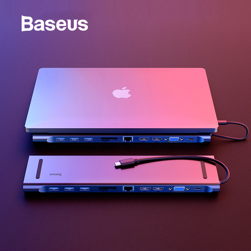 Baseus 11 In 1 HUB Multi USB C HUB To HDMI VGA USB HUB 3.0 RJ45 3.5mm Audio Adapter For MacBook Type C HUB Computer Accessories