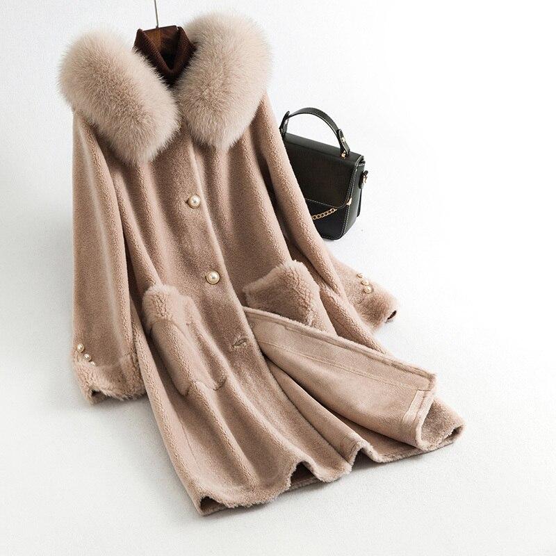 Winter Coat Women Natural Fur Coat Fox Fur Collar Jacket Female Clothes 2020 Korean Real Sheep Shearing Coat Hiver 202020