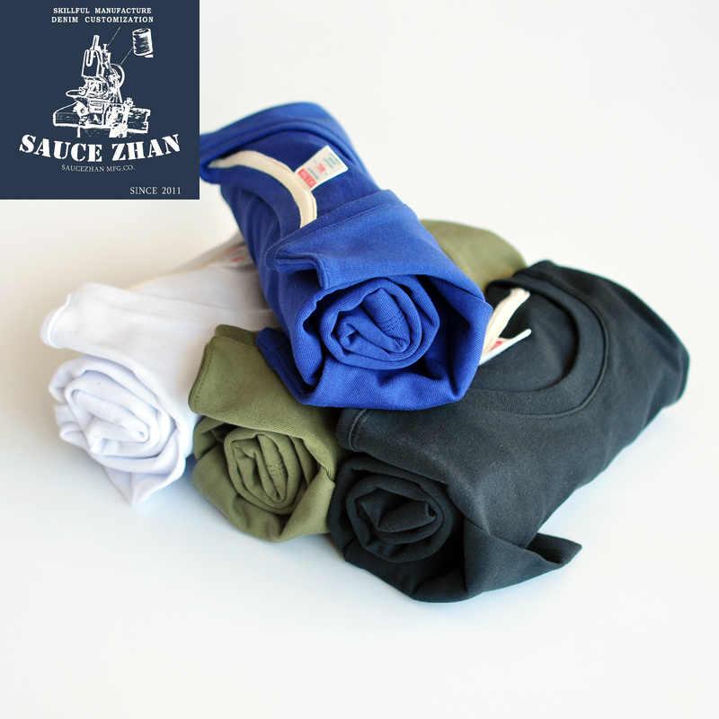 SauceZhan Heavy Completa T-Shirt In Cotone Solido Bianco Uomo T-Shirt O-COLLO Collare T Shirt Pesante 290g di Autunno degli uomini di Inverno T-shirt