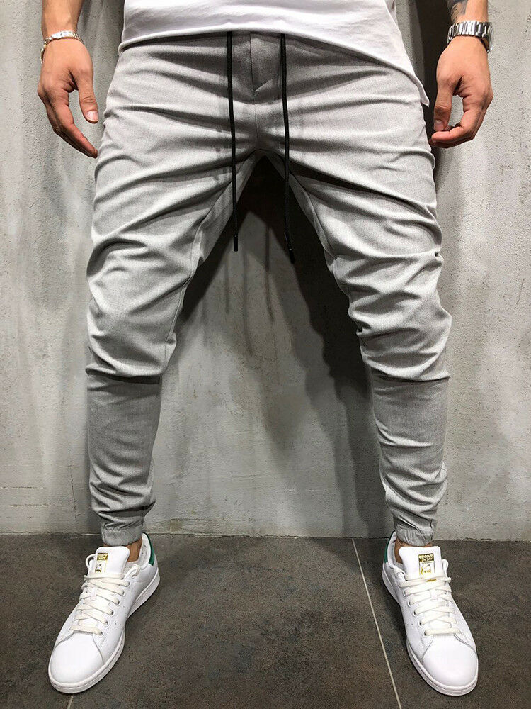 New Autumn Men Solid Slim Fit Trousers Tracksuit Bottoms Stiped Skinny Joggers Long Sweat Pants
