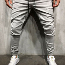 New Autumn Men Solid Slim Fit Trousers Tracksuit Bottoms Stiped Skinny Joggers Long Sweat