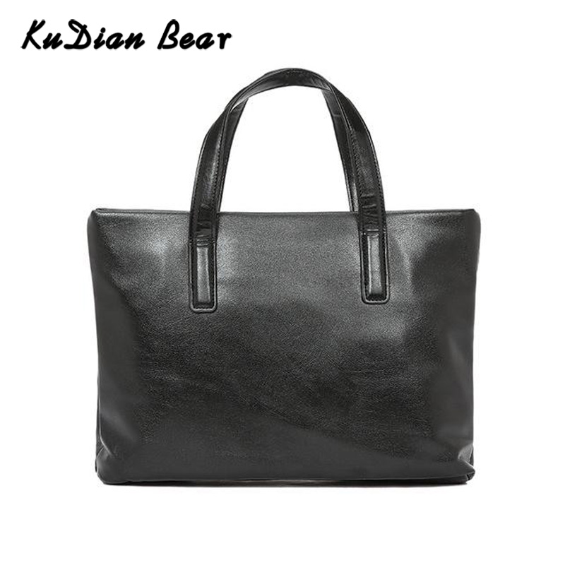 KUDIAN BEAR Men Briefcase 14 Inches Laptop Bag PU Leather Business Handbag Black Men's Bags For Document Borsa Uomo BIX320 PM49