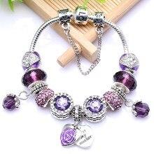 Chieloys Zoete Moeder Hanger Charm Armband Voor Vrouwen Met Liefde Hart Kralen Snake Chain Armbanden Armband Als Moeder Sieraden Gift