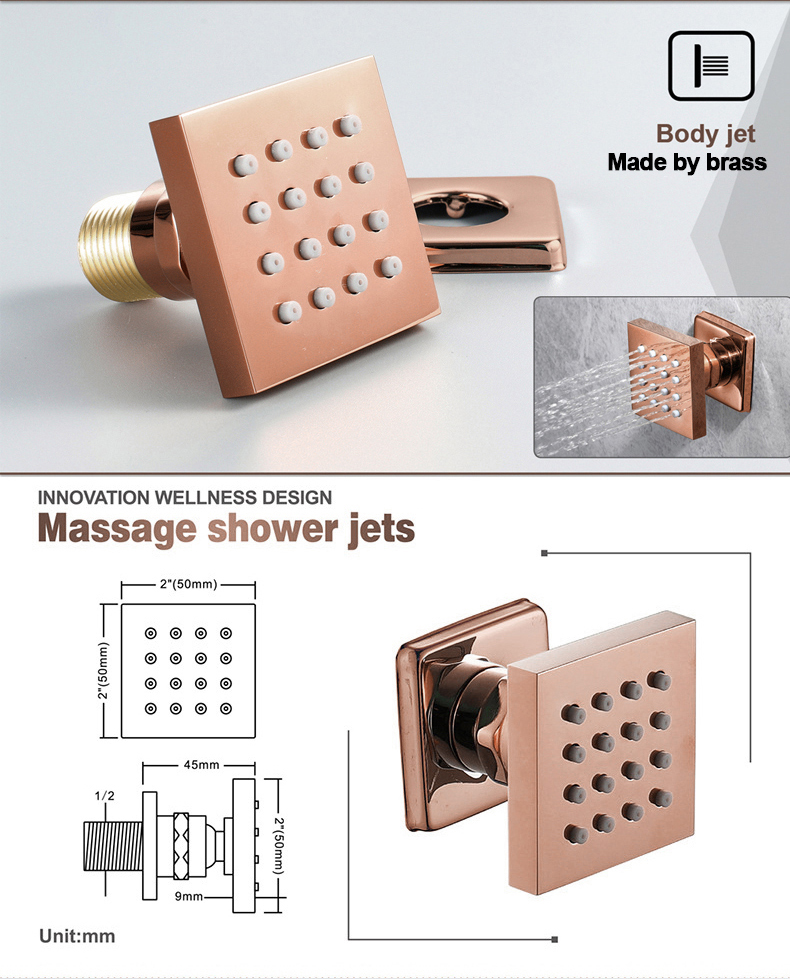 H4f7266d764584e24905db9f538405e6cy M Boenn Luxury Rose Gold LED Shower System Music ShowerHead Bathroom Faucets Rain Shower Set Thermostatic Brass Concealed Mixer