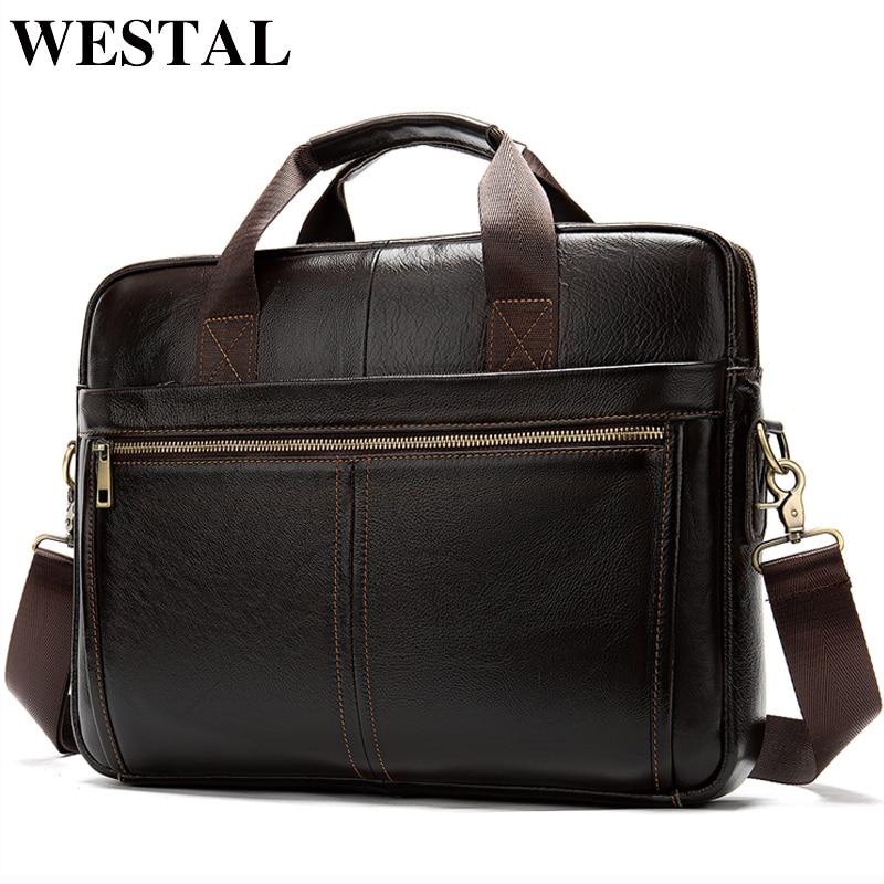 WESTAL Men's Bag Genuine Leather Men's Briefcase Men Office Bags For Men Laptop Bag Leather Men Briefcases Totes Bags Male 8572