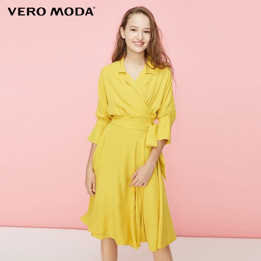 Vero Moda Women's Turn-down Collar Cinched Split Dress | 31926Z514