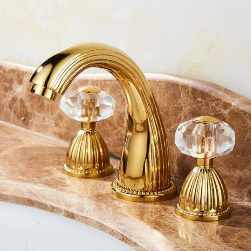 Widerspread смесители для раковины, золотой Латунный кран для раковины, 3 отверстия, 8 дюймов, смеситель для ванной комнаты, роскошная кристальная ...