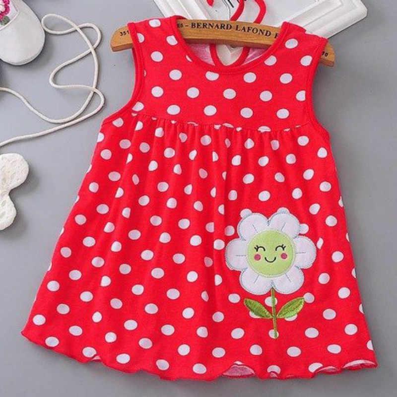 FHADST nowy 2018 dziewczynek sukienka noworodka moda letnie sukienki regularne bez rękawów do kolan niemowląt O-Neck słodkie bawełniane ubrania