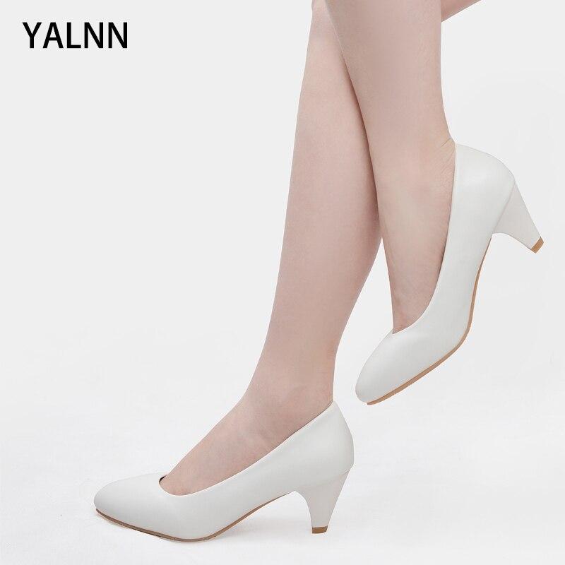 Yalnn robe noir blanc loisirs concis printemps/automne offre spéciale printemps/automne élégant femme chaussures bloc talon pompes chaussures dames