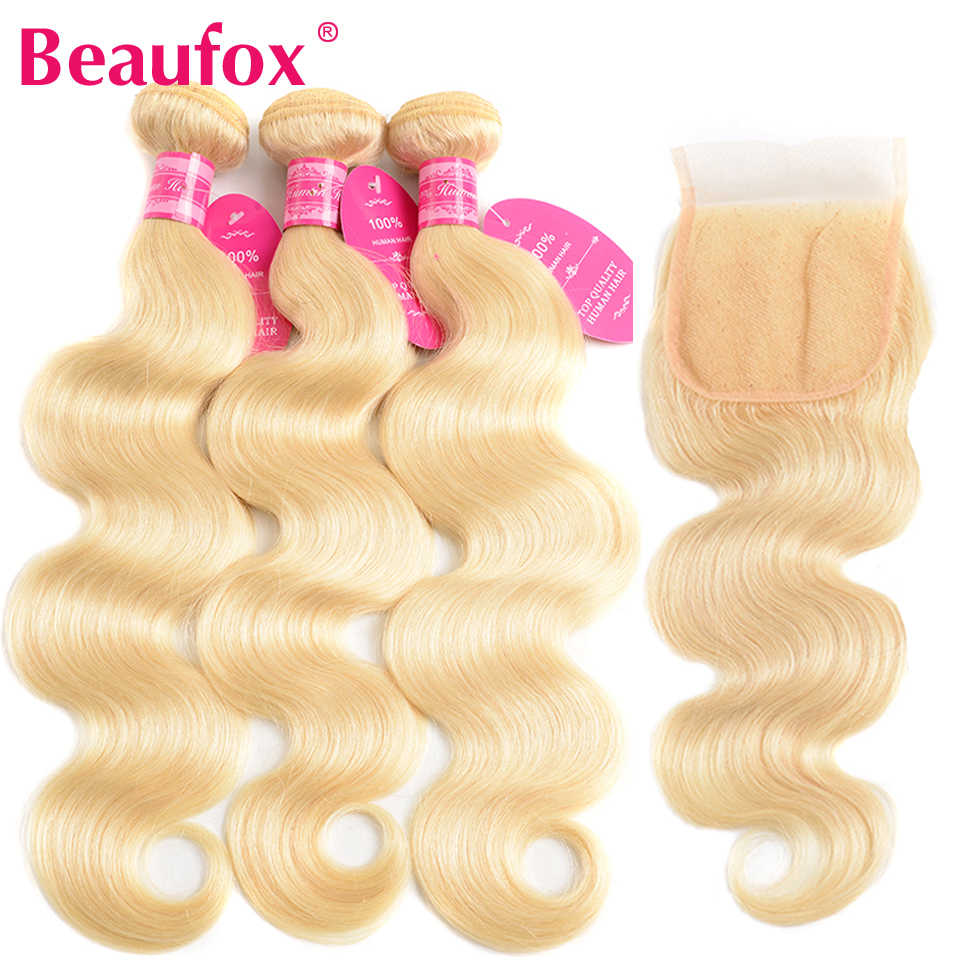 Beaufox 613 Blonde Bundles With Closure Brazilian Body Wave 3 Bundles With Closure Remy 613 Blonde Human Hair Extensions