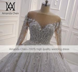 Image 3 - High Quality Long Sleeve Rhinestone Crystal Luxury Wedding Dress 2020 Ball Gown