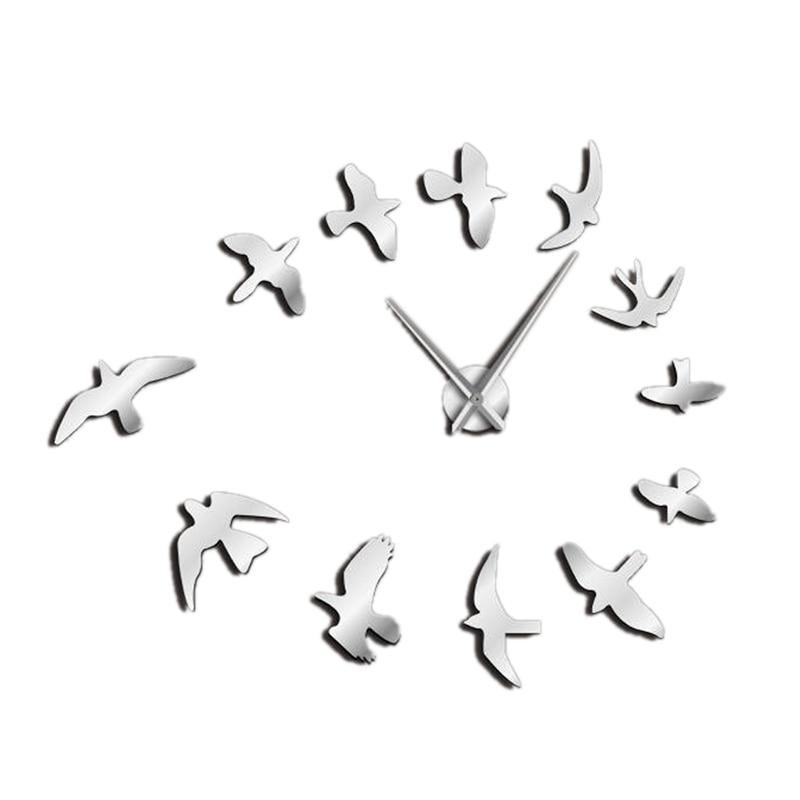 Permalink to Decorative Mirror Wall Clock Flying Birds Wall Clock Modern Design Luxury Frameless Diy Large Clock Wall Watch Nature Room Decor