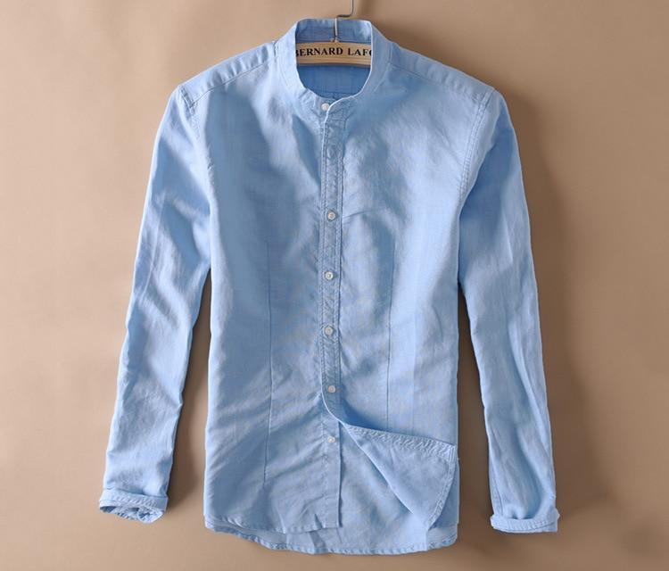 Helisopus Solid Linen Shirt Men Autumn Long Sleeve Mandarin Collar Full Sleeve Cotton Shirts For Men Slim Fits Business Shirts