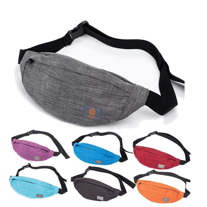 HUBOONE Men Casual Canvas Waist Bag Women Fanny Pack Travel Phone Belt Bag Pouch Banana Waist Packs Sports Bum Bag Heuptas Bolsa