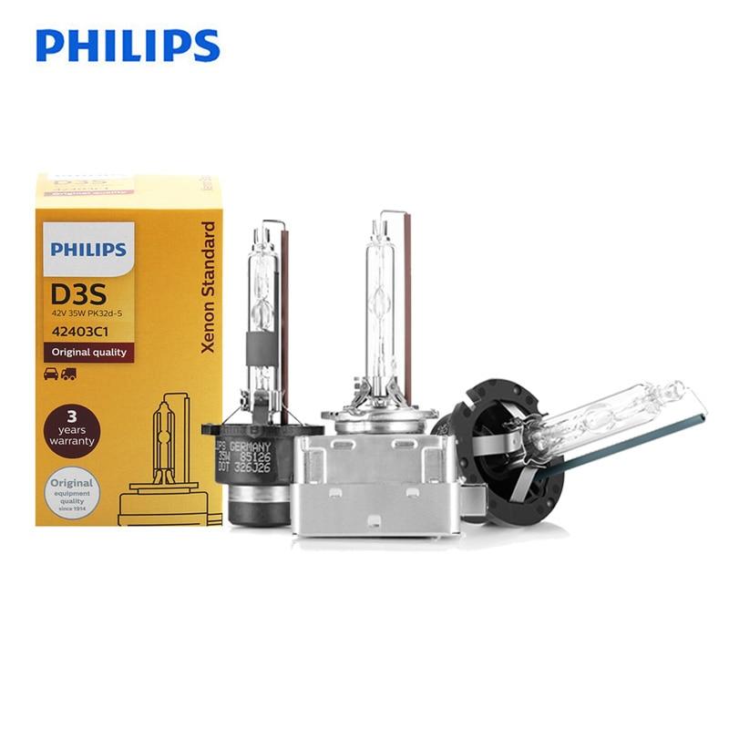 Original Philips HID D1S D2S D2R D3S D4S D5S 35W Xenon Standard 4200K Bright White Light Auto Headlight ECE 100% Authentic, 1X