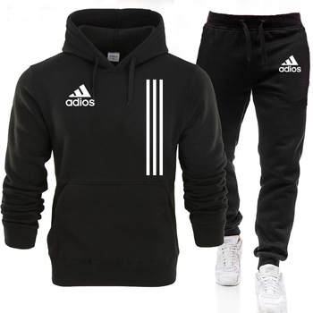New Adios Men's Autumn Winter Sets Zipper Hoodie+Pants Pieces Casual Tracksuit Male Sportswear Gym Brand Clothing Sweat Suit