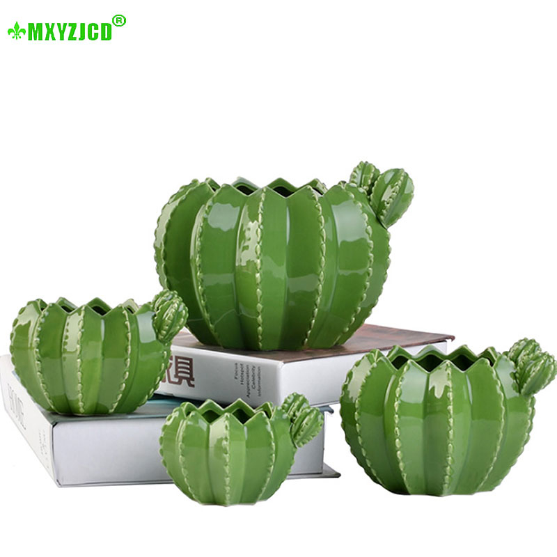 Cactus Ceramic Flower Pot Creative Plant Sculpture Crafts Decoration Succulent Plant Pot Home Decor Accessories Groot