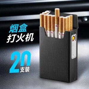 USB lighter Rechargeable Electric Portable Cigarette Case Lighter Metal Holder Box 20 Pcs Creative Compact Cigar Pocket Gift Box