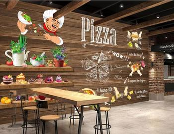 Custom Wall Mural Hand Painted Pizza dining 3D Photo Wallpaper Fast food restaurant bar hotel wall 3d wallpaper цена 2017