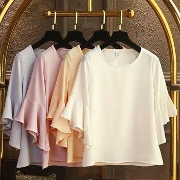 Women Blouse Spring and Summer Korean Fashion Round Neck Loose Joker Chiffon Shirt Top Women Ruffle Sleeve Baby Shirt Summer цена 2017