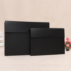 Large Volume Black Frosted Stereo Snap Closure File Holder A4 Business Customizable Document File Bag Conference Portfolio na