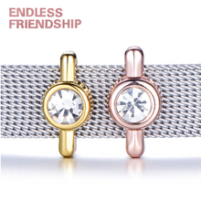 Endless Friendship Crystal Rhinestone Bezel Solitaire Slide Charms Keeper For Stainless Steel Mesh Bracelet Accessories
