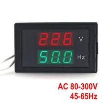 Medidor de voltagem de frequência, visor duplo, ac 80-300.0v, 45-65hz, medidor de frequência, voltímetro hertz50/hz medidor com led vermelho