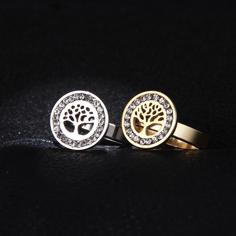 Модное и элегантное кольцо из нержавеющей стали с изображением дерева жизни для пары, украшение с бриллиантами, повседневное праздничное г...