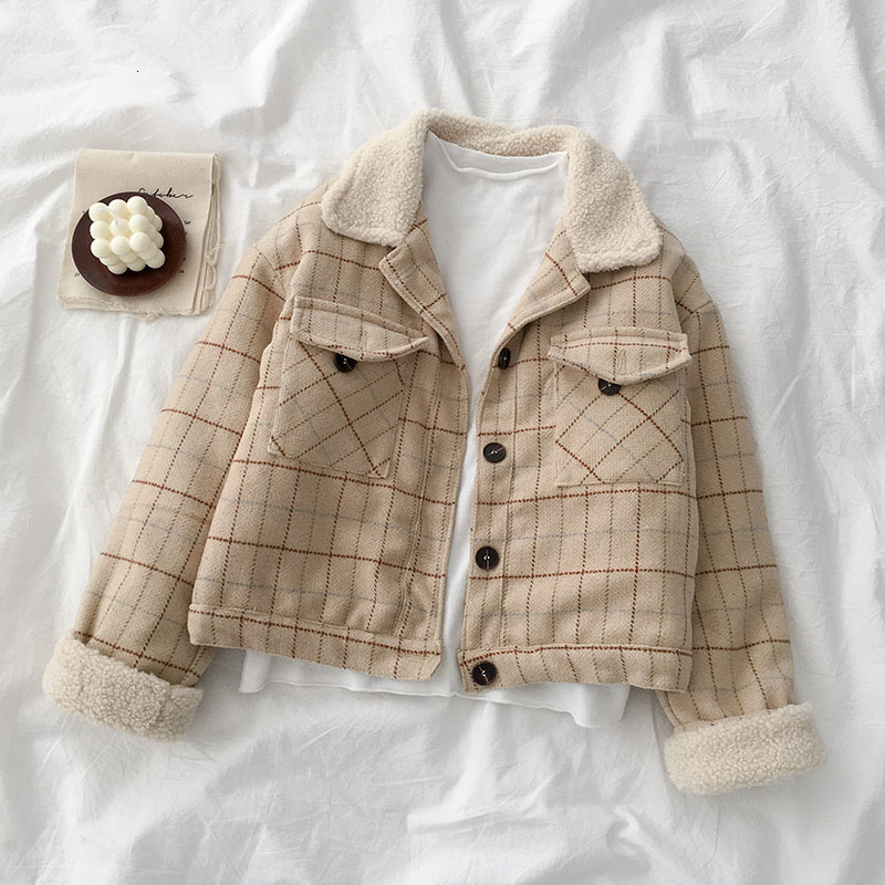 Autumn Winter Woolen Loose Coat Women Plaid Long Sleeve Turn-down Collar Pocket Jacket Female Fashion Khaki Tops