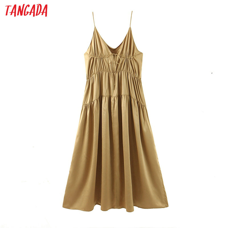 Tangada Fashion Women Solid Long Dress Summer 2020 Sleeveless Ladies Pleated Maxi Dress Vestidos SL232