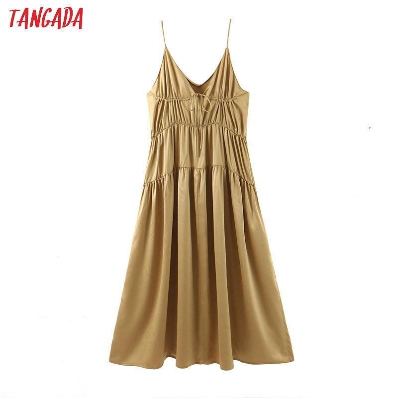 Tangada Fashion Women Solid Long Dress Summer 2020 Sleeveless Ladies Pleated Maxi Dress Vestidos SL232