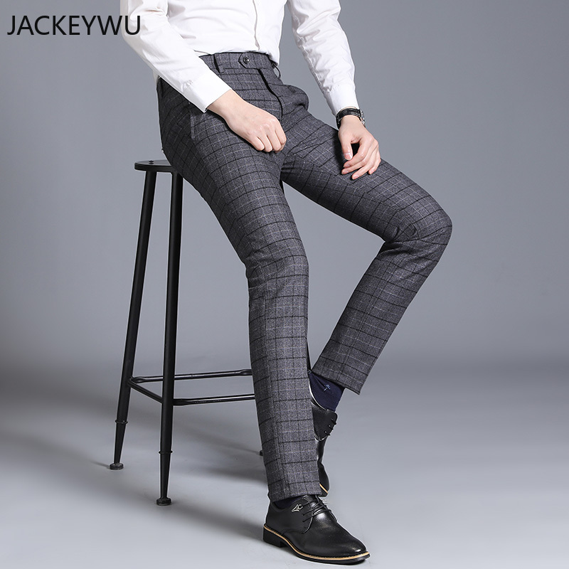 Brand Suit Pants Men 2019 Fashion Business Casual Straight Slim Fit Long Trouser England Classic Grid Office Formal Pant Wedding
