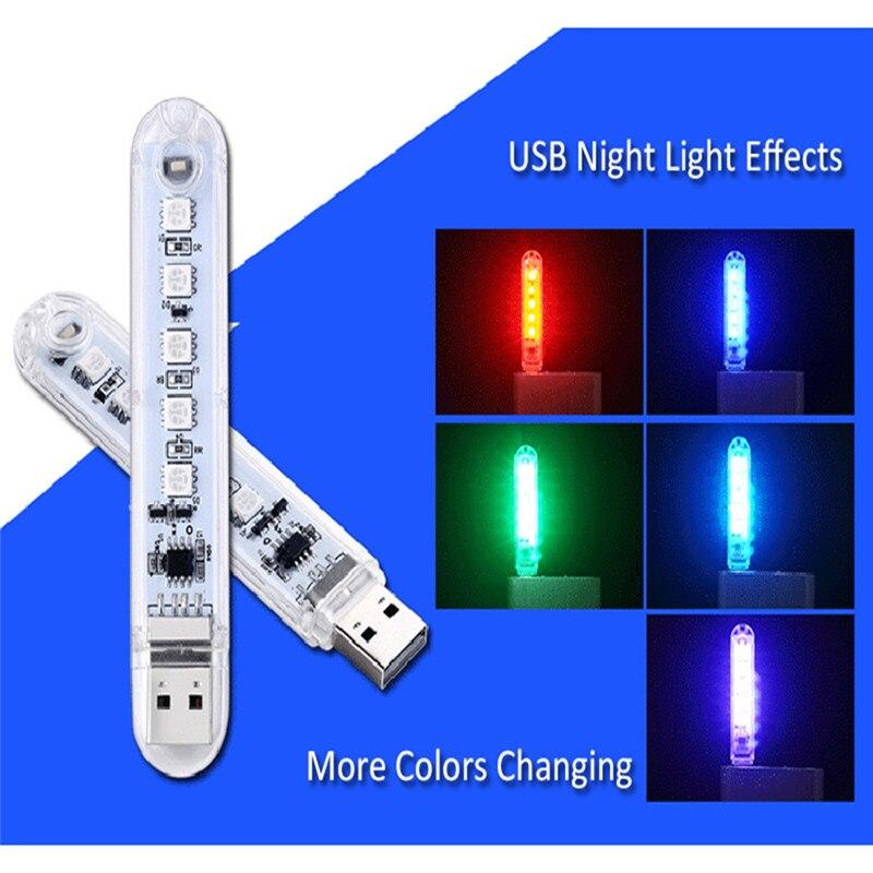 Miniluces LED de noche para libros, 5 LED, RGB, 5050, 5V, para PC, portátiles, ordenador, lámpara de lectura móvil