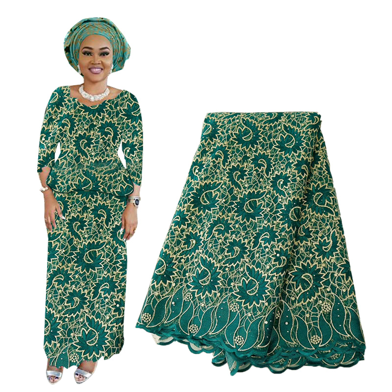 High Quality African Lace Fabric Embroidered Nigerian Laces Fabric French Tulle Lace Fabric With Stones For Women Dress 2019